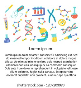 Genetic Engineering. Genome research. Genome sequencing. Helix DNA, microscope, chromosome, test tubes, DNA analysis. Template for an article or site, poster, banner, advertising. Vector illustration
