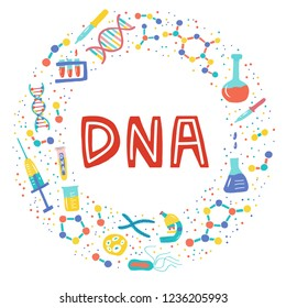 Genetic Engineering. Genome research. Genome sequencing. Helix DNA, microscope, chromosome, test tubes, DNA analysis. A set of elements on a medical theme for a poster, article, banner, advertising