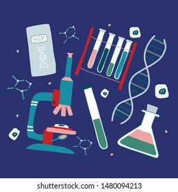 Genetic engineering and genome sequencing set of flat isolated elements: helix DNA, microscope, chromosome, test tubes, cells, nucleotides, book. Hand drawn vector illustration.