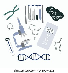 Genetic engineering and genome sequencing set of isolated elements: helix DNA, microscope, chromosome, test tubes, nucleotides, cas9 RNA. Doodle vector illustration.