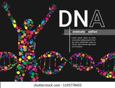 Genetic engineering infographic vector illustration. DNA graphic vector. Science book cover. Genetically modified.