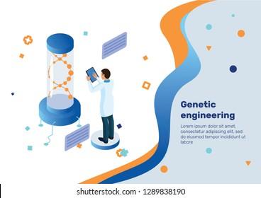 Genetic engineering. Isometric Concept.