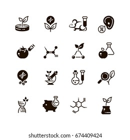 Genetic modification biotechnology and dna research vector micro icons. Gmo research, biotechnology genetic dna illustration