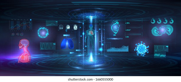 Genetic research, Healthcare examination and human scanning in HUD style. UI for Medical App, Futuristic Medical GUI, HUD interface hologram - Human heart, body, lungs, MRI of the brain and bacteria