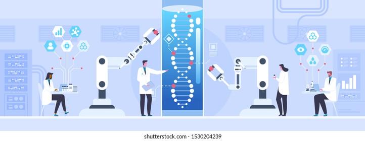 Genetische Wissenschaft flache Vektorgrafik. Männliche und weibliche Wissenschaftler, die humane Genomforschung betreiben Cartoon-Charaktere. Biotechnologie, Medizin-Innovationskonzept. DNA-Helix-Test. Biotechnologie