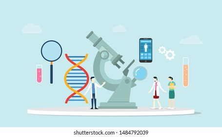 genetic science health engineering concept with microscope and lab team research with dna chromosome with modern flat style - vector