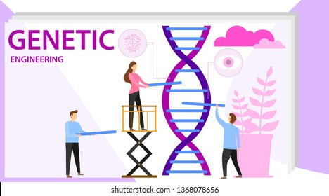 Genetic scientists edit DNA. Group of scientists or researchers wearing white coats analyzing DNA molecule in science lab. Men and woman scientis, laboratory technician. Biotechnology icons concept.