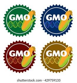 Genetically Modified Organisms (GMO) emblem or sticker icons