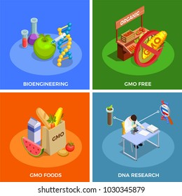 Genetically modified organisms isometric design concept with bio engineering, dna research, gmo foods isolated vector illustration