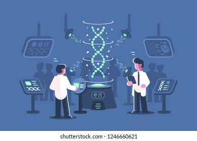 Genetics doctors researching dna in laboratory vector illustration. Two men in science lab with special equipments for research and experiments of deoxyribonucleic acid molecules flat style