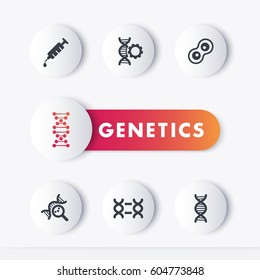 genetics icons set, genetic modification, research, dna chains, vector illustration
