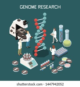 Genetics isometric composition with laboratory equipment and scientists researching genome 3d vector illustration