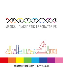 Genetics logo of medical clinic diagnostic laboratories. Colorful vector DNA, bulb, test tubes and microscope.