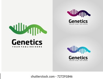 Genetics Technology Logo Template Design. Creative Vector Emblem, for Icon or Design Concept.