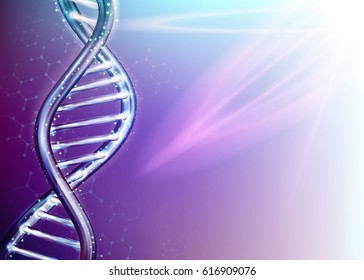 Genetics Testing Science DNA Double Spiral Abstract Blue and Purple Background Vector Art Design Illustration