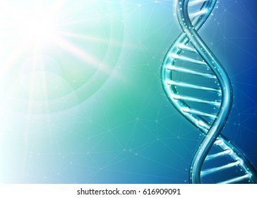 Genetics Testing Science DNA Double Spiral Abstract Green and Blue Background Vector Art Design Illustration