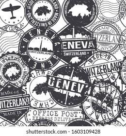 Geneva Switzerland Stamps Background. City Stamp Vector Art. Postal Passport Travel. Design Set Pattern.