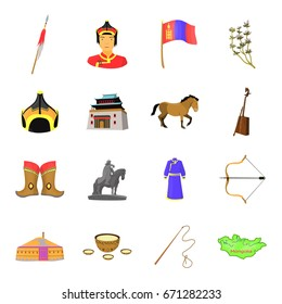 Genghis Khan, a monastery, Yurt and other sights of Mongolia. Mongolia set collection icons in cartoon style vector symbol stock illustration web.