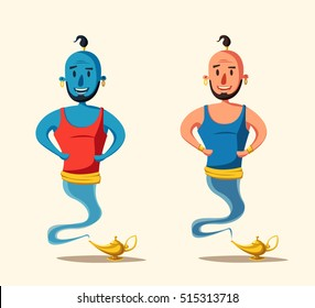 Genie coming out of a magic lamp. Cartoon vector illustration. Persian culture. Old fable