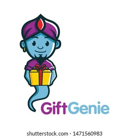 genie cute character mascot designs with gift box