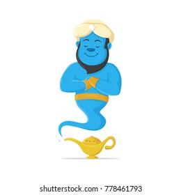 Genie and magic lamp vector cartoon mascot illustration
