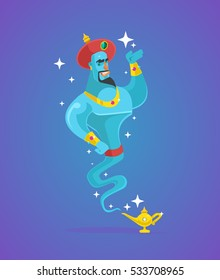 Genie man character from magic lamp. Vector flat cartoon illustration