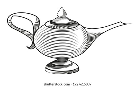Genie's lamp in engraving style. Antique black and white object.