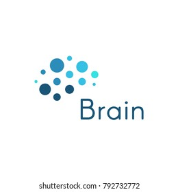 Genious brain, abstract blue circles medical and science vector logo template. Innovation development movement icon.
