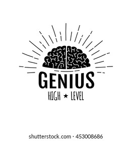 """Genius Brain in rays logo, """"high level"""" lettering. isolated on white background, vector illustration."""