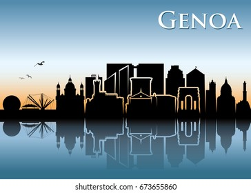 Genoa skyline - Italy - vector illustration