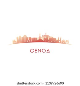 Genoa skyline silhouette. Vector design colorful illustration.