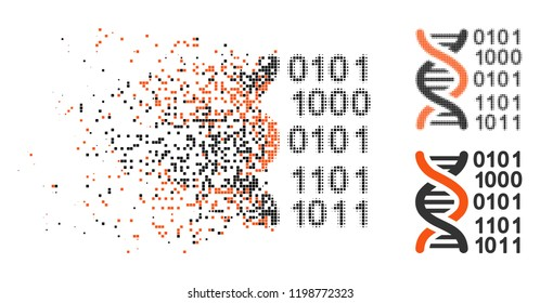 Genome code icon in disappearing, dotted halftone and undamaged whole versions. Particles are arranged into vector disappearing genome code shape. Disappearing effect involves rectangular particles.