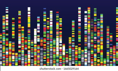 Genome Design Multicolor Data Visualization Vector. Dna Test, Barcoding, Genome Map Architecture. Medical Chromosome Analysis Graphic Bioinformatic Diagram Template Flat Illustration