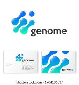 Genome logo. Abstract round shapes like molecules or gene. Blue cells on a white background. Business card.