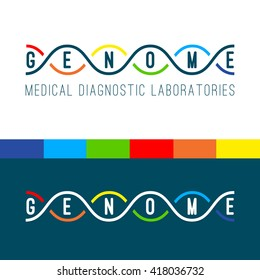 Genome logo of medical clinic diagnostic laboratories. Color vector DNA spiral on white and navy blue background.