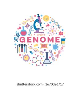 Genome related objects, medical research and DNA spiral genetic structure icons in circle banner, biology and health science items and microscope, cartoon vector illustration on white background