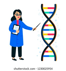 Genome sequencing concept. Female scientist and helix of dna on white background, genome or gene structure. Human genome project. Flat style vector illustration