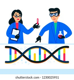 Genome sequencing concept. Scientists working in nanotechnology or biochemistry laboratory. Molecule helix of dna, genome or gene structure. Human genome project. Flat style vector illustration.