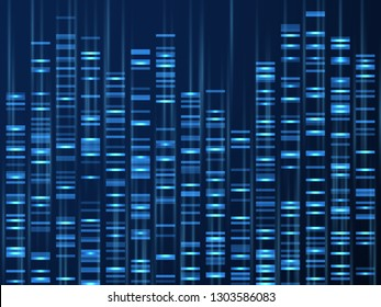 GENOMIC DATA VISUALIZATION. Dna genome sequence, medical genetic map. Genealogy barcode vector background