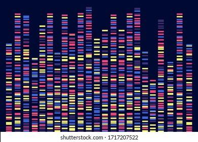 Genomic data visualization. DNA test. Vector  illustration