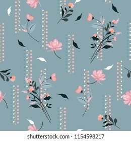 Gental blowing garden flowers on sweet tone with hand drawn geometric vertical stripe seamless pattern vector for fashion,fabric and all prints on vintage blue background color.