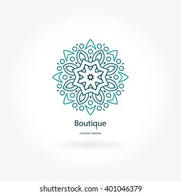 Gentle blue beautiful circular logo for boutique, flower shop, business, interior. Company mark, emblem, element. Simple geometric mandala logotype. Kaleidoscope big bud. Surround abstract blossom.