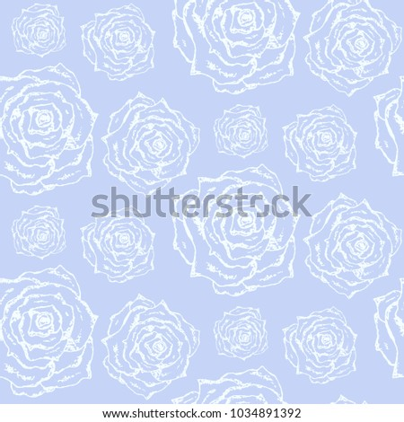Gentle Blue Vintage Hand Drawn Seamless Stock Vector Royalty Free