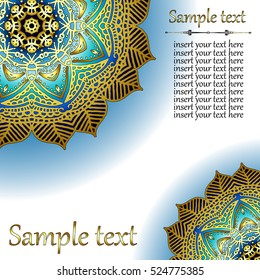 Gentle Card or invitation with oriental pattern in Indian, Arabic, Islamic, Turkish style, with  circular floral ornament.