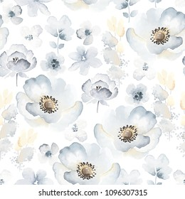 Gentle floral pattern with blue flowers Anemone in vintage watercolor style. Vector seamless illustration on white background.