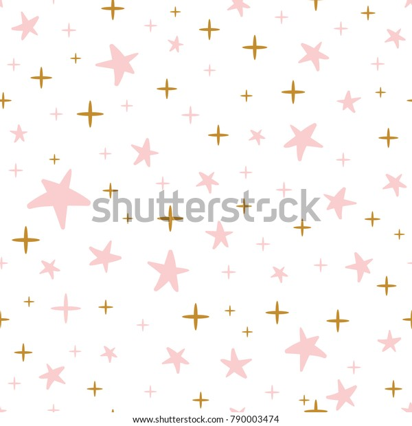 Gentle hand drawn seamless pattern decorated golden and pink stars on white background. Vector illustration for xmas wallpaper, wrap, fabric, cover, textile or package design. Baby shower decoration.