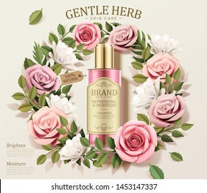 Gentle herb toner ads with paper flowers wreath in 3d illustration