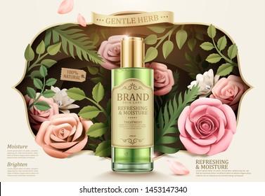 Gentle herb toner ads with paper flowers garden in 3d illustration
