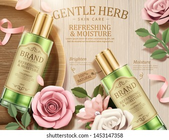 Gentle herb toner ads with paper flowers on wooden table in 3d illustration, top view