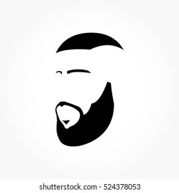 gentle man high fade blaze haircut from front side view in flat black with eyebrow, beard, and mustache